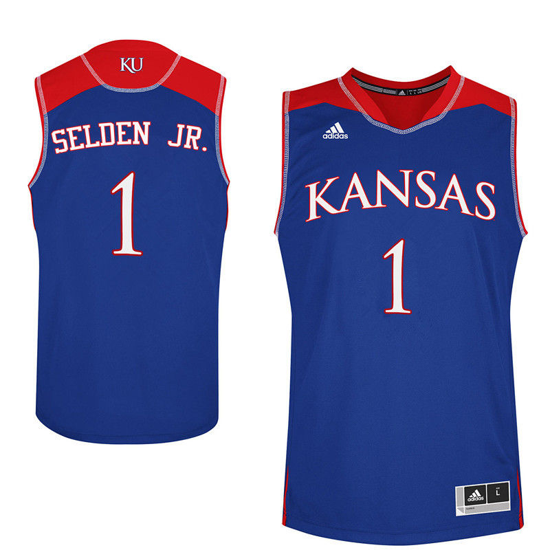 Men Kansas Jayhawks #1 Wayne Selden Jr. College Basketball Jerseys-Royals