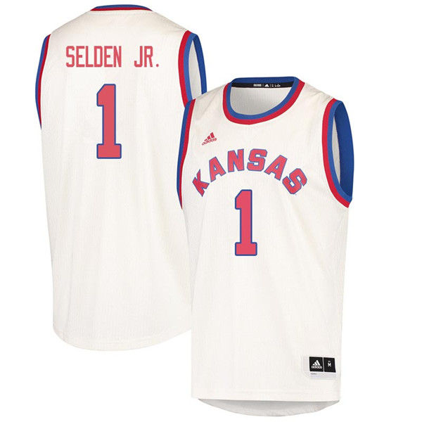 Men #1 Wayne Selden Jr. Kansas Jayhawks 2018 Hardwood Classic College Basketball Jerseys Sale-Cream