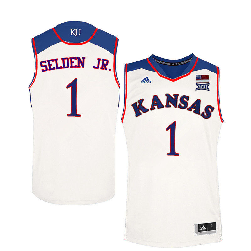 Men Kansas Jayhawks #1 Wayne Selden Jr. College Basketball Jerseys-White