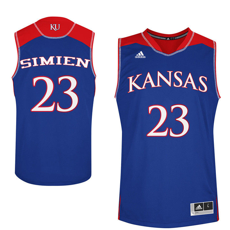 Men Kansas Jayhawks #23 Wayne Simien College Basketball Jerseys-Royals