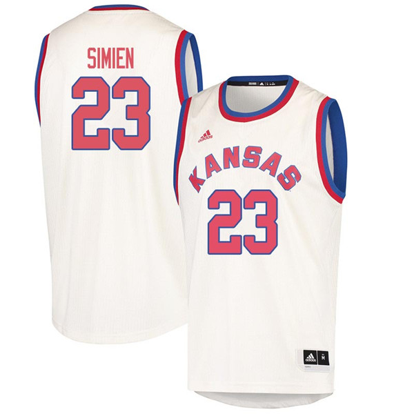 Men #23 Wayne Simien Kansas Jayhawks 2018 Hardwood Classic College Basketball Jerseys Sale-Cream