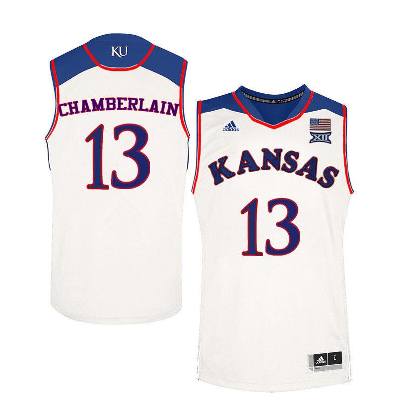 f814a25069c Men Kansas Jayhawks  13 Wilt Chamberlain College Basketball Jerseys-White