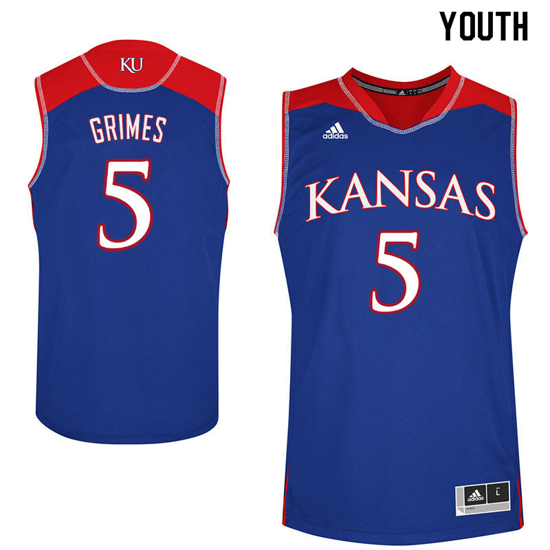 Youth #5 Quentin Grimes Kansas Jayhawks College Basketball Jerseys Sale-Blue