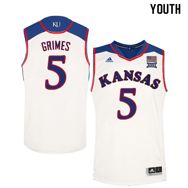 Youth #5 Quentin Grimes Kansas Jayhawks College Basketball Jerseys Sale-White