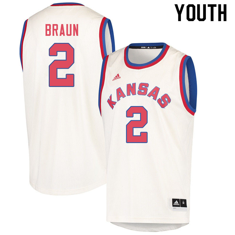 Youth #2 Christian Braun Kansas Jayhawks College Basketball Jerseys Sale-Cream