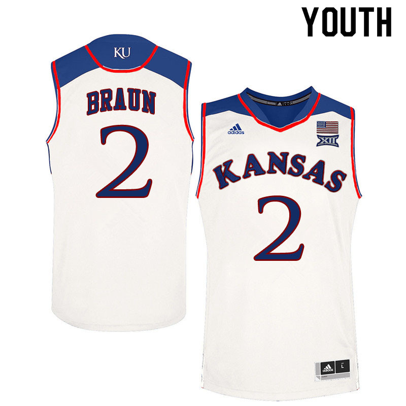 Youth #2 Christian Braun Kansas Jayhawks College Basketball Jerseys Sale-White
