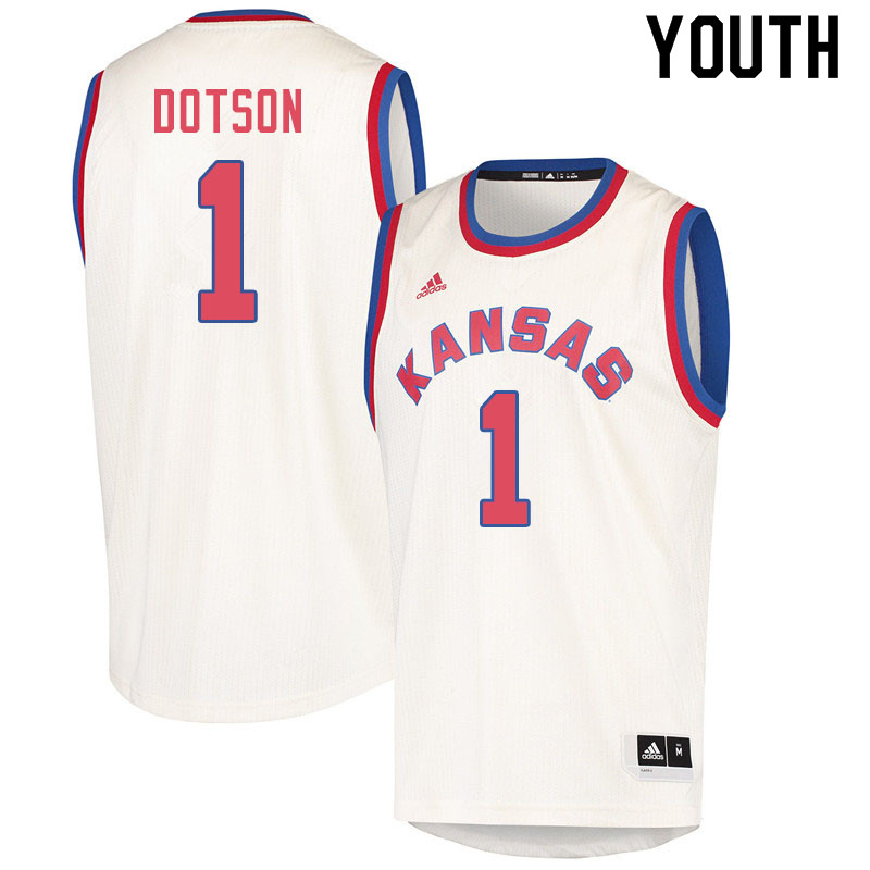 Youth #1 Devon Dotson Kansas Jayhawks College Basketball Jerseys Sale-Cream