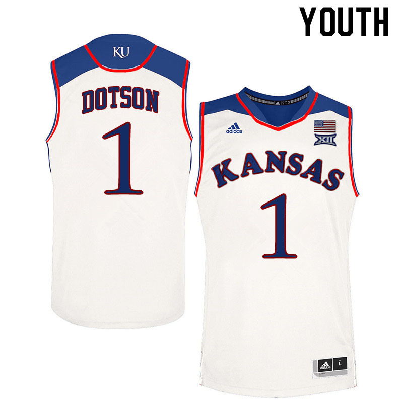 Youth #1 Devon Dotson Kansas Jayhawks College Basketball Jerseys Sale-White