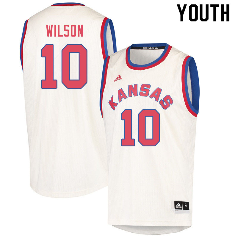 Youth #10 Jalen Wilson Kansas Jayhawks College Basketball Jerseys Sale-Cream