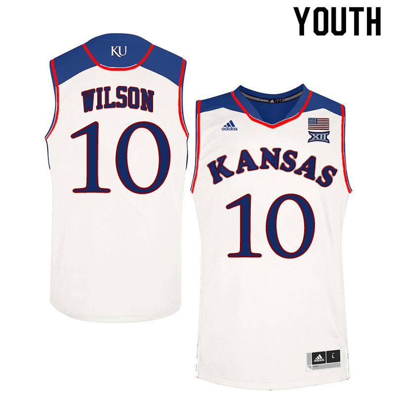 Youth #10 Jalen Wilson Kansas Jayhawks College Basketball Jerseys Sale-White