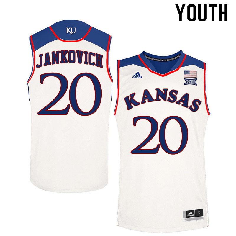 Youth #20 Michael Jankovich Kansas Jayhawks College Basketball Jerseys Sale-White