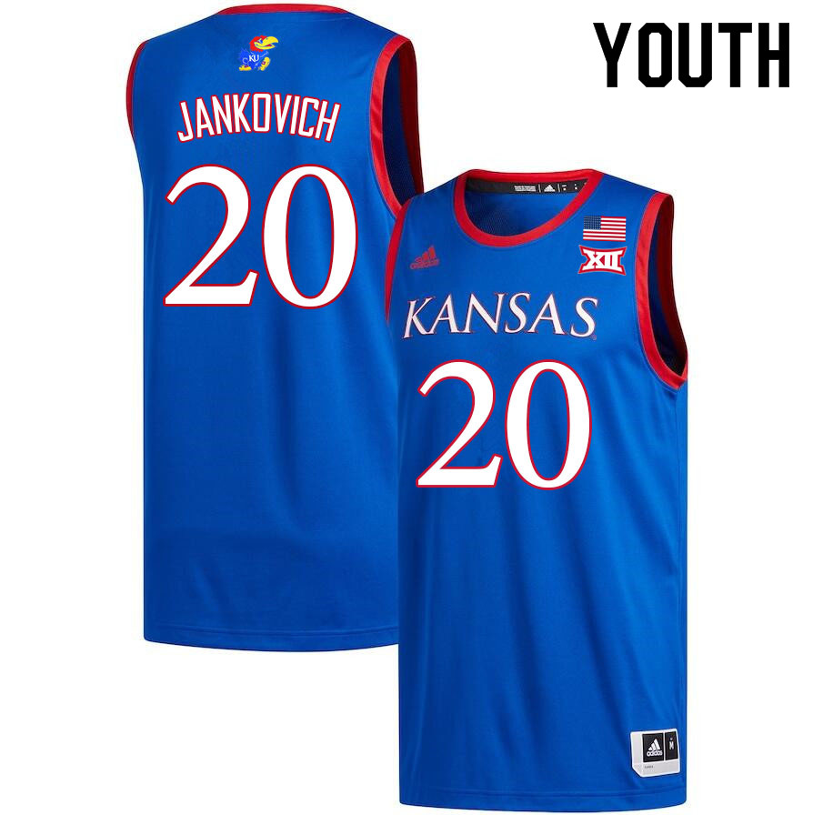 Youth #20 Michael Jankovich Kansas Jayhawks College Basketball Jerseys Sale-Royal