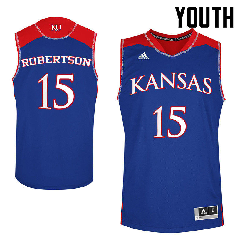 Youth Kansas Jayhawks #15 Aisia Robertson College Basketball Jerseys-Royals