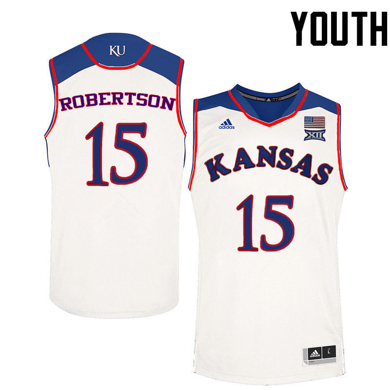 Youth Kansas Jayhawks #15 Aisia Robertson College Basketball Jerseys-White