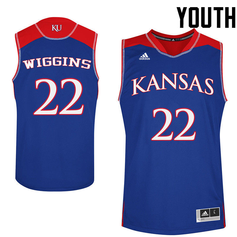 Youth Kansas Jayhawks #22 Andrew Wiggins College Basketball Jerseys-Royals