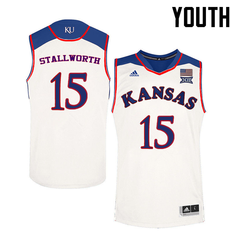 Youth Kansas Jayhawks #15 Bud Stallworth College Basketball Jerseys-White