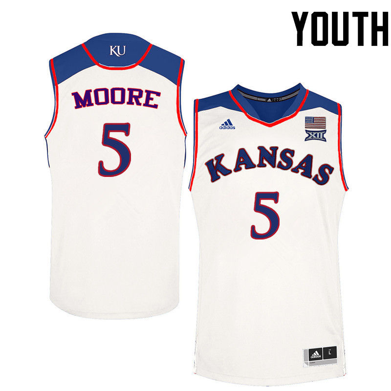 Youth Kansas Jayhawks #5 Charlie Moore College Basketball Jerseys-White