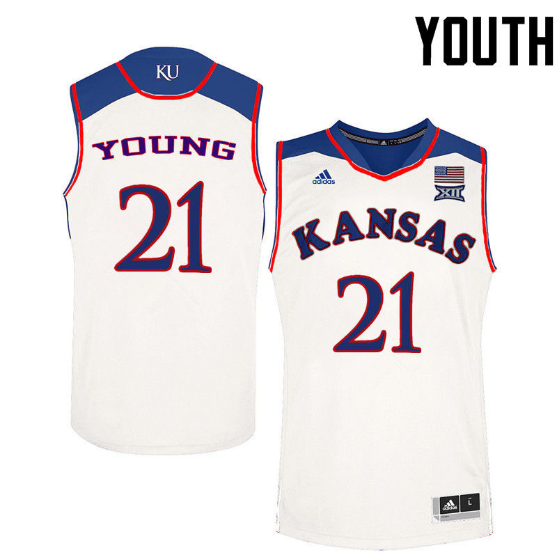 Youth Kansas Jayhawks #21 Clay Young College Basketball Jerseys-White