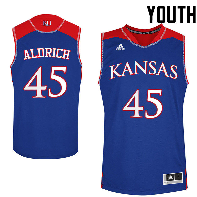 Youth Kansas Jayhawks #45 Cole Aldrich College Basketball Jerseys-Royals