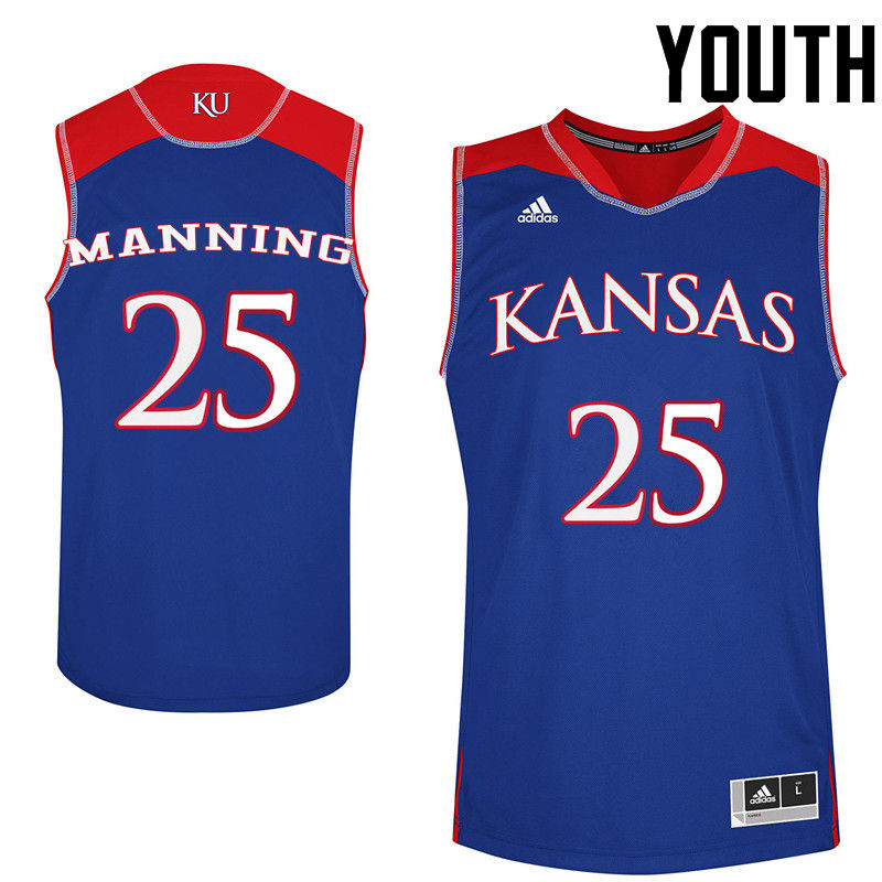 Youth Kansas Jayhawks #25 Danny Manning College Basketball Jerseys-Royals
