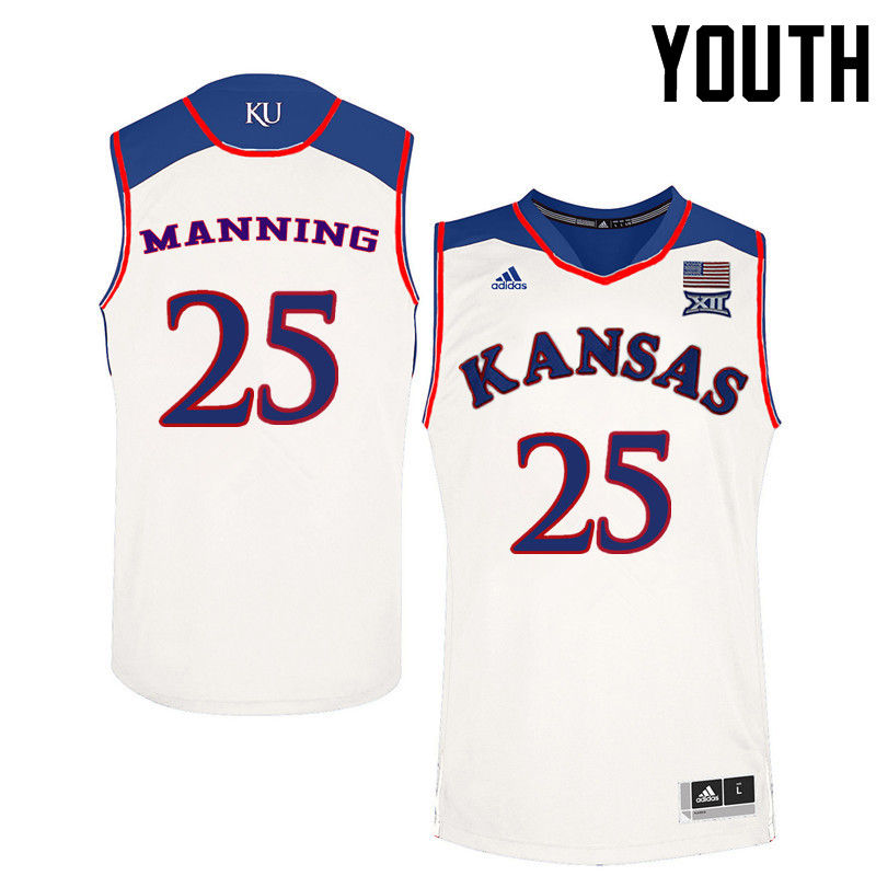 Youth Kansas Jayhawks #25 Danny Manning College Basketball Jerseys-White