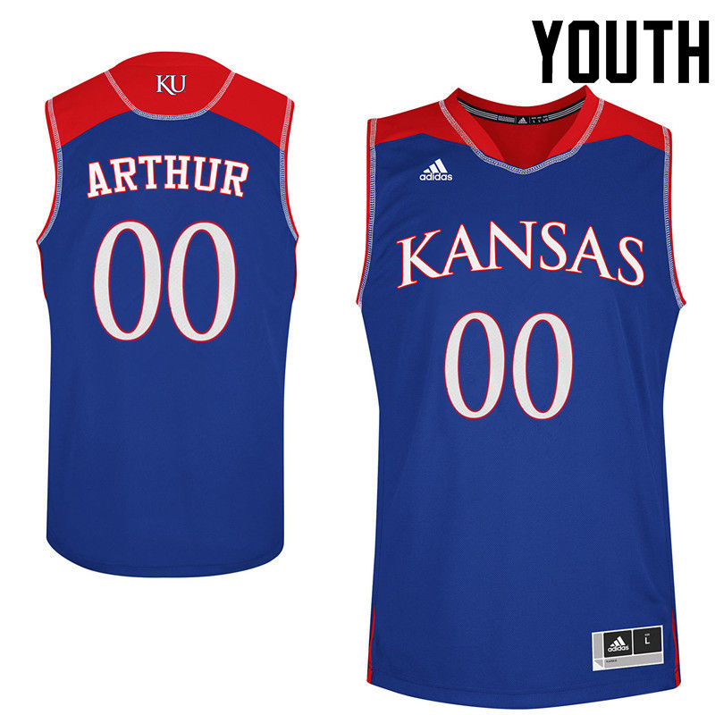 Youth Kansas Jayhawks #00 Darrell Arthur College Basketball Jerseys-Royals