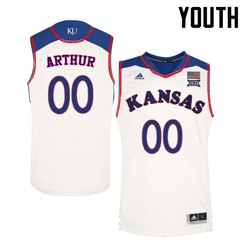 Youth Kansas Jayhawks #00 Darrell Arthur College Basketball Jerseys-White