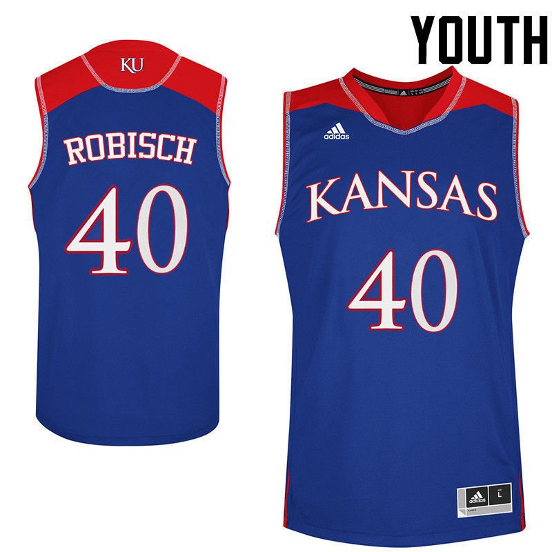 Youth Kansas Jayhawks #40 Dave Robisch College Basketball Jerseys-Royals