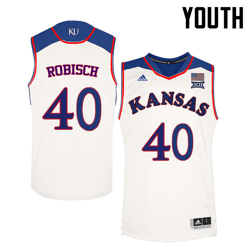 Youth Kansas Jayhawks #40 Dave Robisch College Basketball Jerseys-White