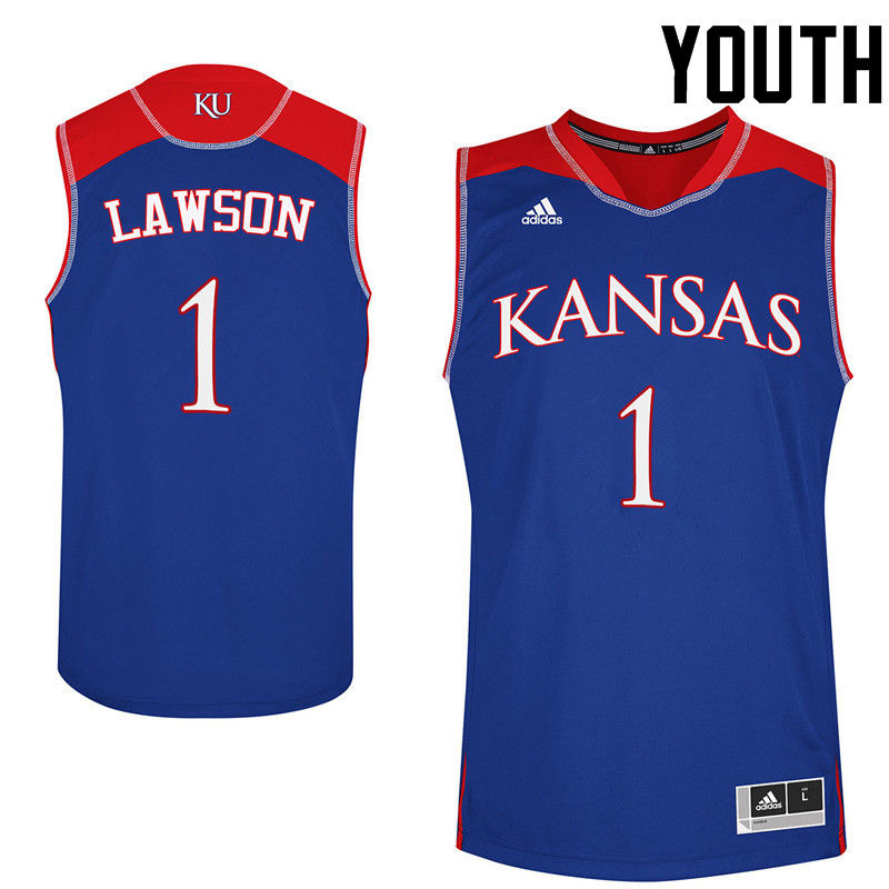 Youth Kansas Jayhawks #1 Dedric Lawson College Basketball Jerseys-Royals