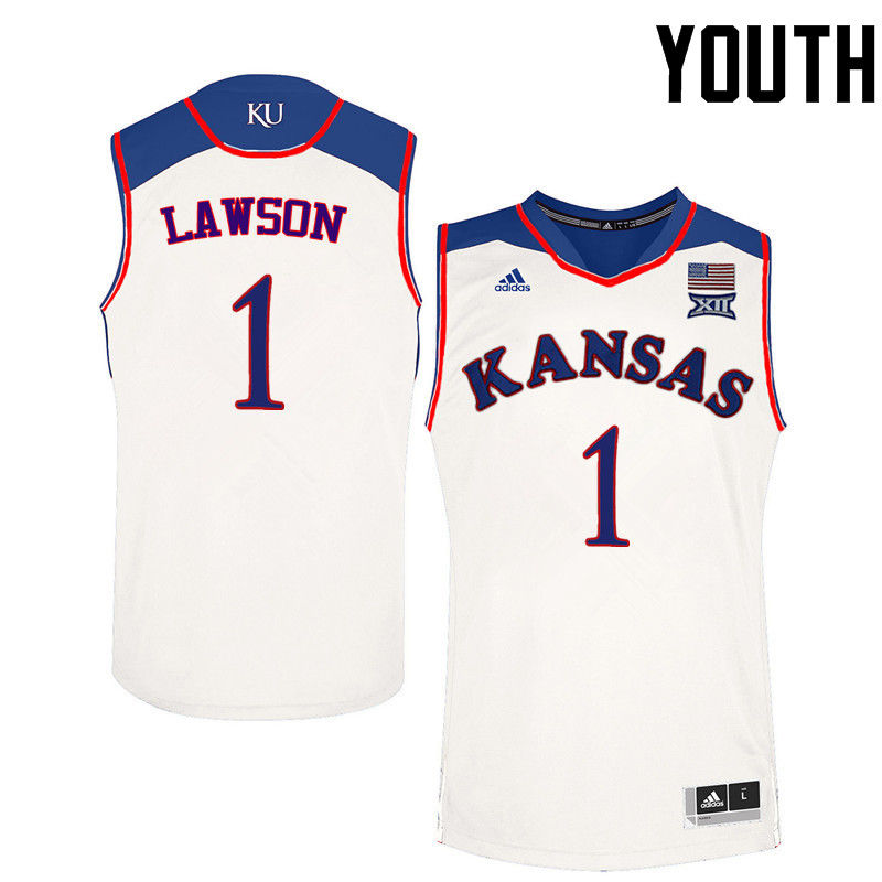 Youth Kansas Jayhawks #1 Dedric Lawson College Basketball Jerseys-White