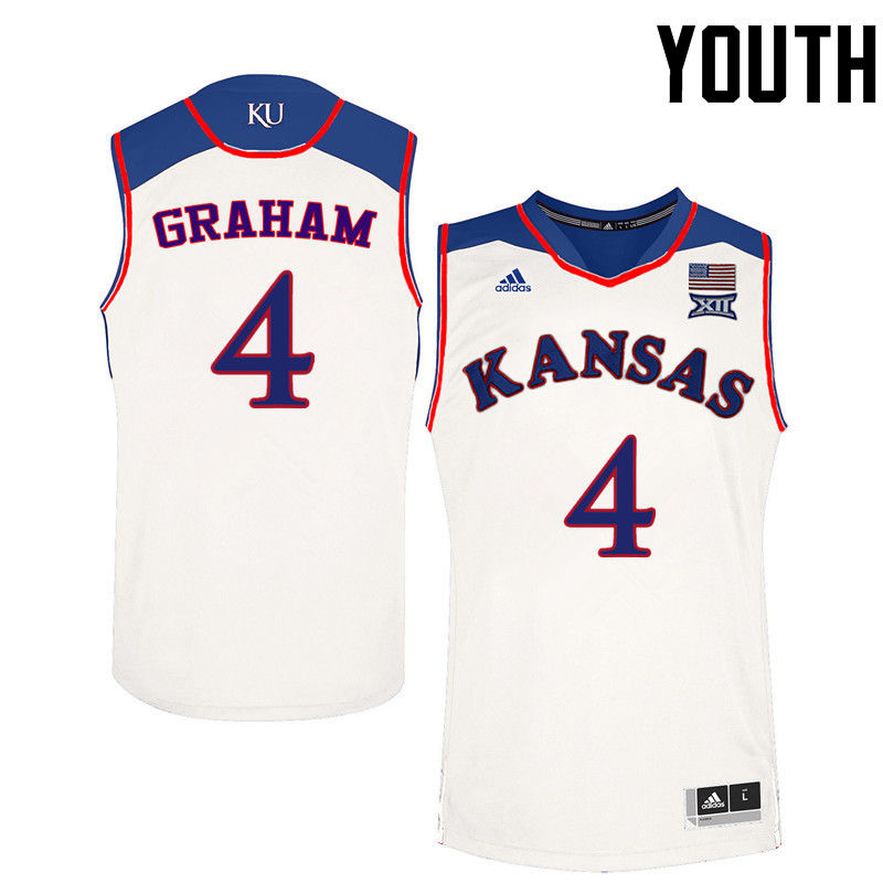 Youth Kansas Jayhawks #4 Devonte Graham College Basketball Jerseys-White