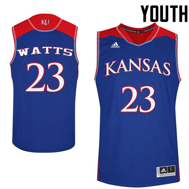 Youth Kansas Jayhawks #23 Eboni Watts College Basketball Jerseys-Royals