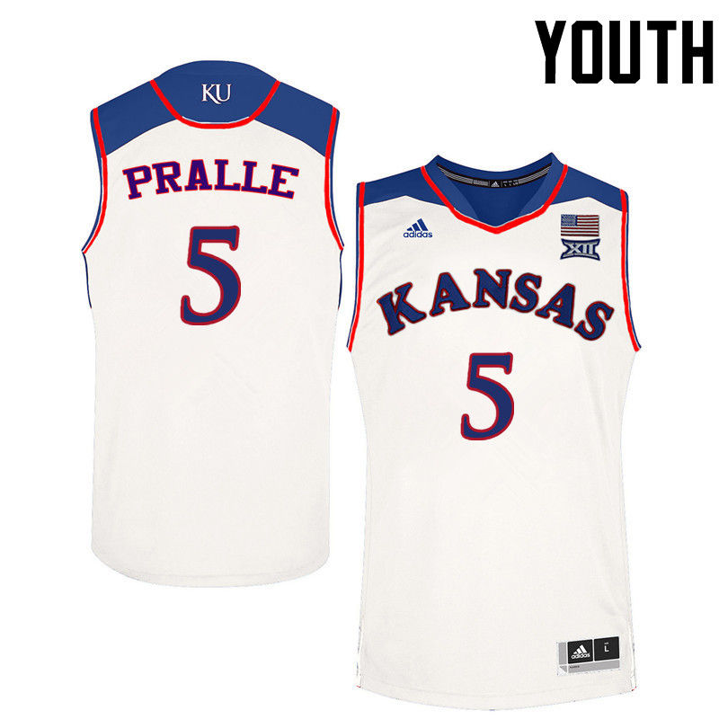 Youth Kansas Jayhawks #5 Fred Pralle College Basketball Jerseys-White