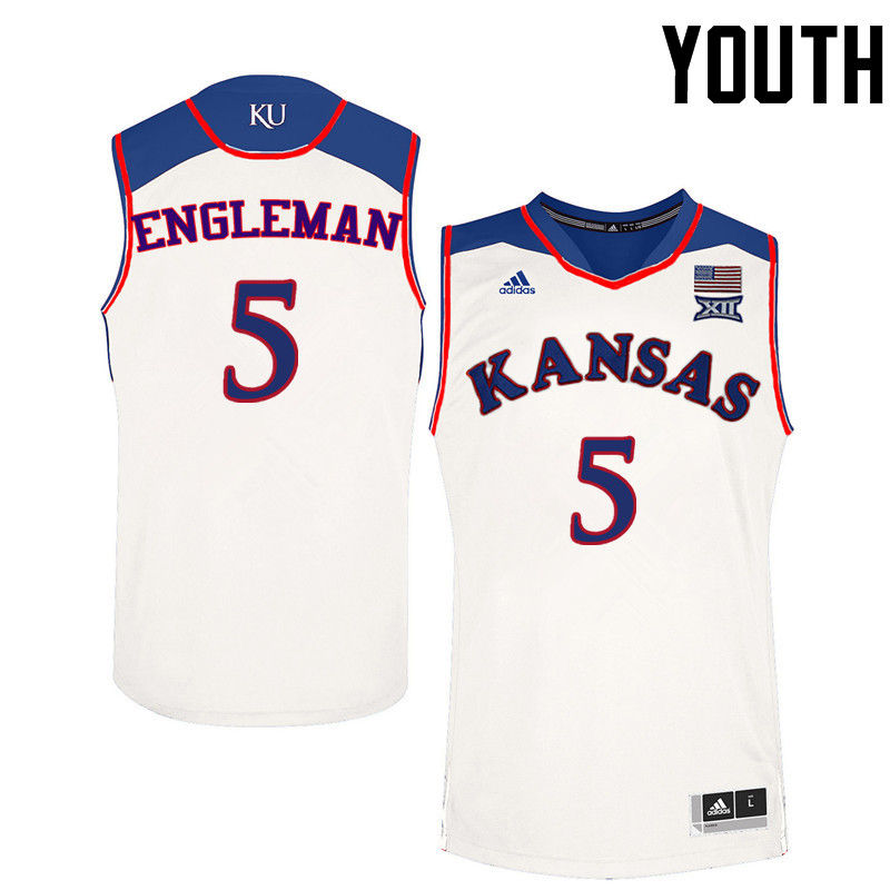 Youth Kansas Jayhawks #5 Howard Engleman College Basketball Jerseys-White