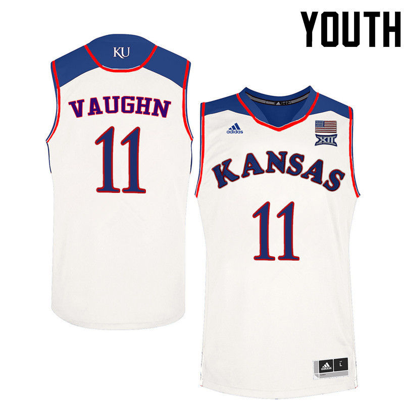 Youth Kansas Jayhawks #11 Jacque Vaughn College Basketball Jerseys-White