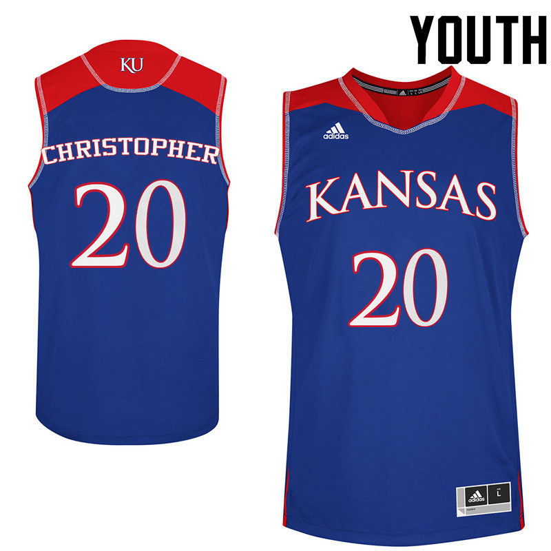 Youth Kansas Jayhawks #20 Jayde Christopher College Basketball Jerseys-Royals