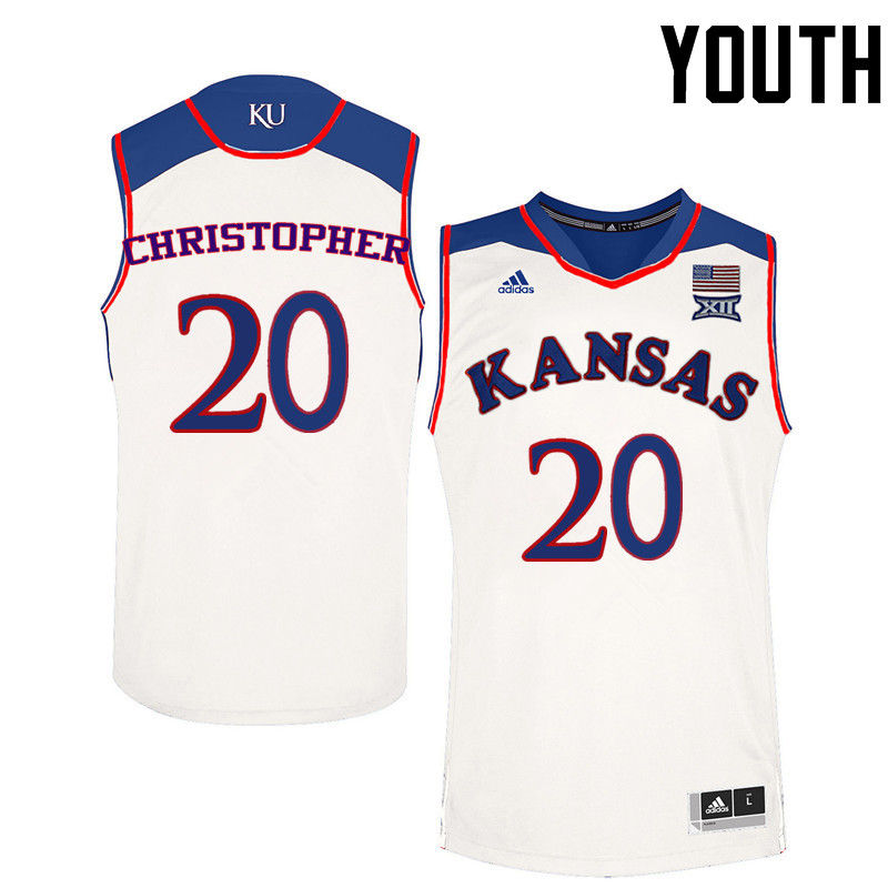 Youth Kansas Jayhawks #20 Jayde Christopher College Basketball Jerseys-White