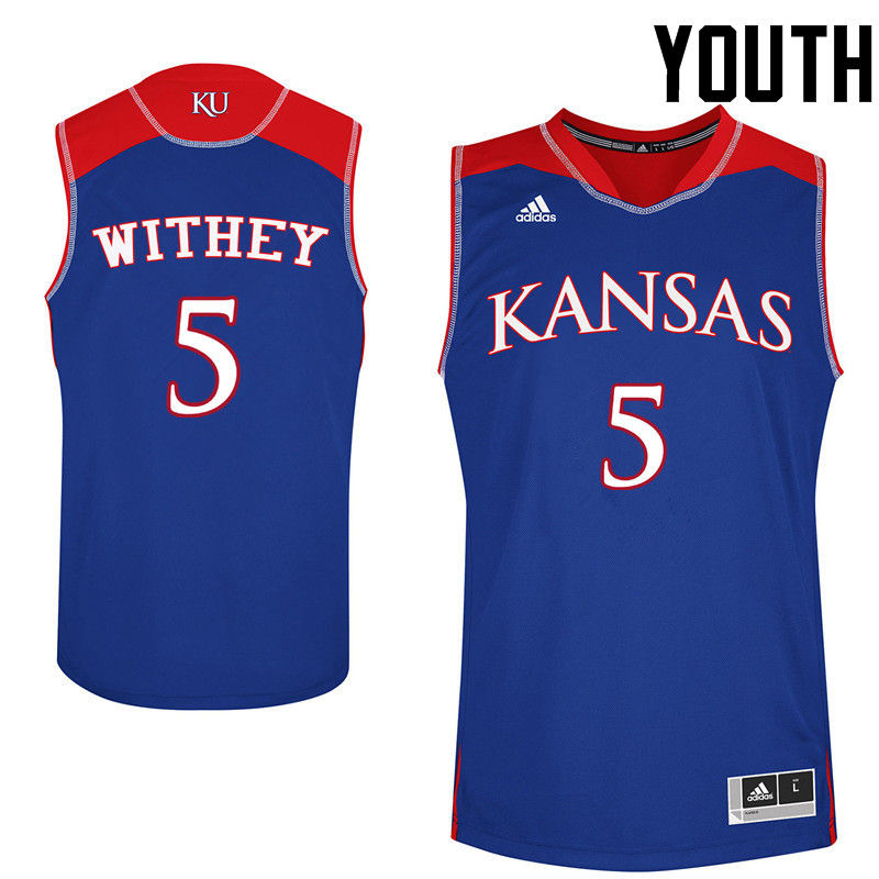Youth Kansas Jayhawks #5 Jeff Withey College Basketball Jerseys-Royals