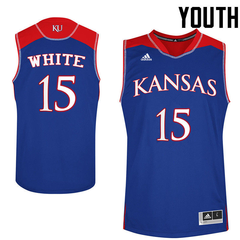 Youth Kansas Jayhawks #15 Jo Jo White College Basketball Jerseys-Royals