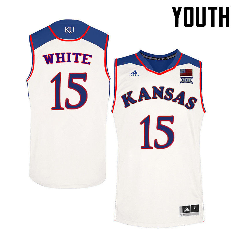Youth Kansas Jayhawks #15 Jo Jo White College Basketball Jerseys-White