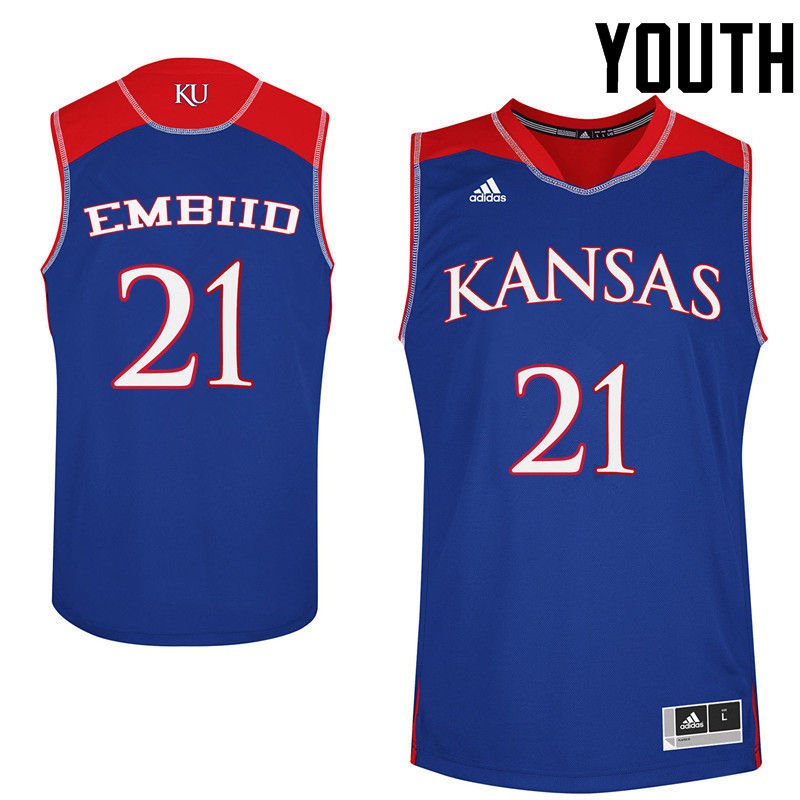 Youth Kansas Jayhawks #21 Joel Embiid College Basketball Jerseys-Royals