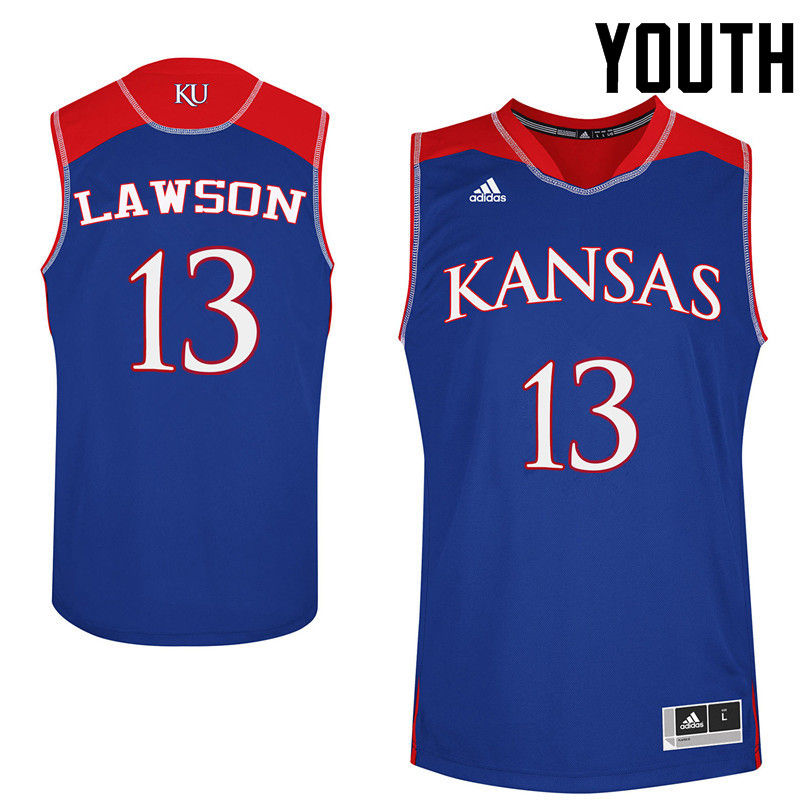 Youth Kansas Jayhawks #13 K.J. Lawson College Basketball Jerseys-Royals