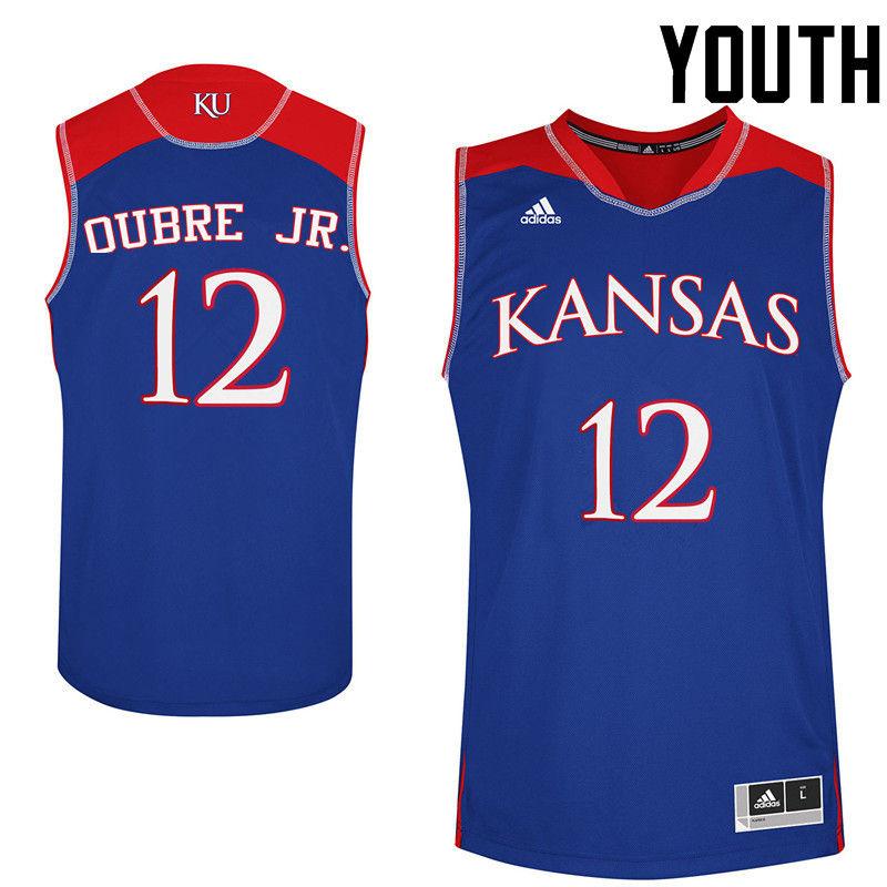 Youth Kansas Jayhawks #12 Kelly Oubre Jr. College Basketball Jerseys-Royals