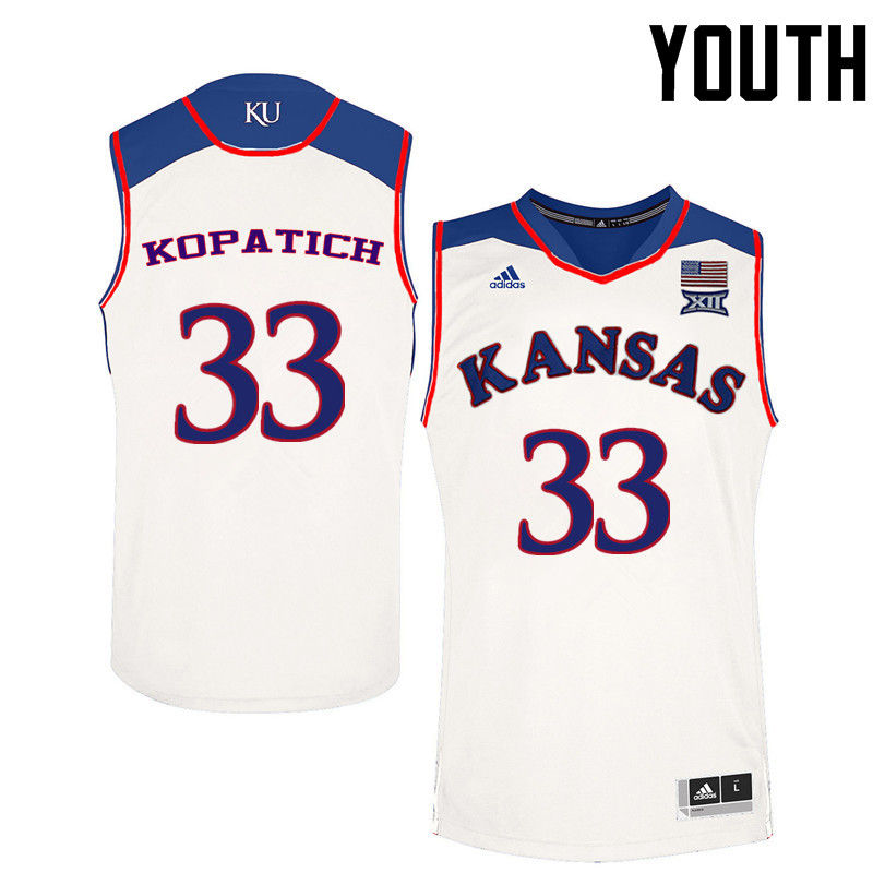 Youth Kansas Jayhawks #33 Kylee Kopatich College Basketball Jerseys-White