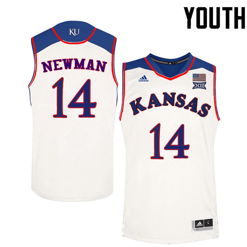 Youth Kansas Jayhawks #14 Malik Newman College Basketball Jerseys-White