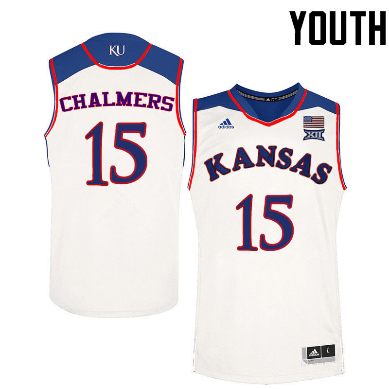 Youth Kansas Jayhawks #15 Mario Chalmers College Basketball Jerseys-White
