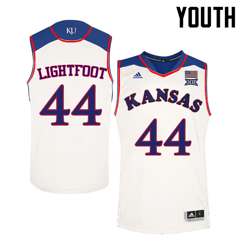 Youth Kansas Jayhawks #44 Mitch Lightfoot College Basketball Jerseys-White