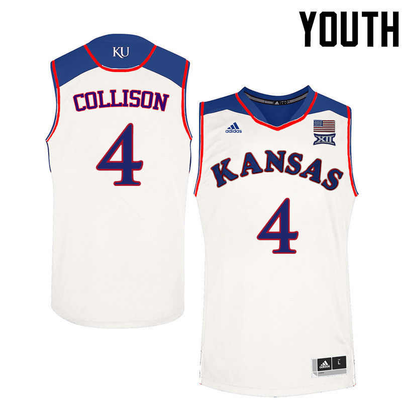Youth Kansas Jayhawks #4 Nick Collison College Basketball Jerseys-White