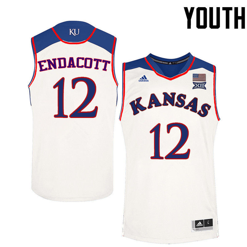 Youth Kansas Jayhawks #12 Paul Endacott College Basketball Jerseys-White